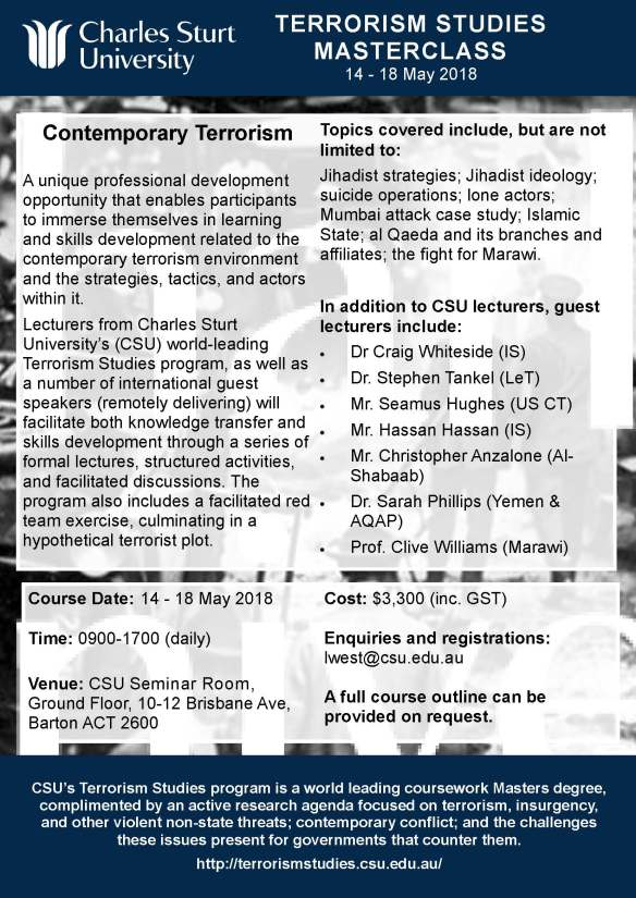 Contemporary Terrorism Masterclass 14-18 May 2018